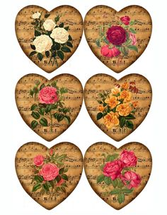 Heart Glossy Stickers with Vintage Rose Images Choose 6 Large 12 Medium 24 Small