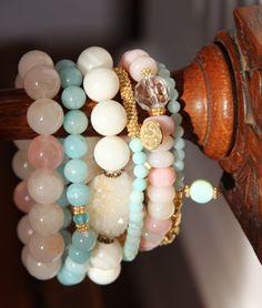 Blue Peruvian Opal Stack Bracelet Gold by HappyGoLuckyJewels, $29.00