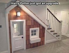 This is a cupboard but wouldn't this be an EVEN BETTER kids house under the stairs?