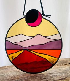 Come around sundown! I have to admit, I was a little hesitant about this colorway, but now I'm feeling super southwest for real . listing this guy in the shop today! Stained Glass Art, Mosaic Glass, Hanging Wall Art, Wall Hangings, Unique Home Decor, Garden Art, Wood Art, Arts And Crafts, Cellar