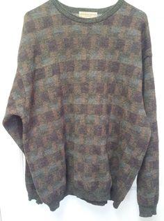 Tricots St Raphael Sweater Size XL Merino Wool Men's Crewneck Grey Brown   #TricotsStRaphael #Crewneck