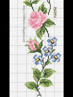 Dsn Cross Stitch Letters, Cross Stitch Rose, Cross Stitch Flowers, Cross Stitching, Cross Stitch Embroidery, Hand Embroidery, Embroidery Designs, Stitch Patterns, Sewing Patterns
