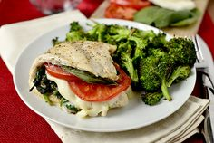 Caprese Stuffed Chicken | iowagirleats -- served with roasted broccoli LOOKS SO YUM