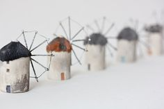 poast - natural clays + artist's pigments + soldered steel - windmills of greece