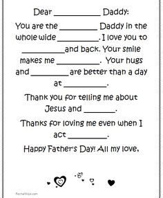 Father's Day fun! A Dad Mad Lib activity for kids. Great for your Sunday School class, small group or family activity!