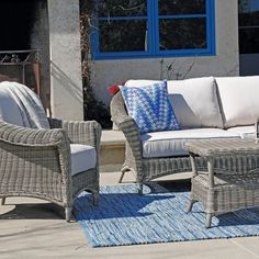 Amelia Sofa | Thos. Baker #wickerfurniture Outdoor Wicker Furniture, Outdoor Sofa, Outdoor Spaces, Outdoor Decor, Cane Furniture, Teak Furniture, Cane Chairs, Transitional Style, Amelia