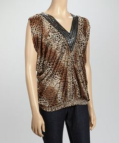 This Brown Leopard Rhinestone Cap-Sleeve Top by Sunrise Touch is perfect! #zulilyfinds