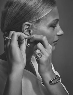 """midnight-charm: """"The Line. Signature Pieces: Jewelry with Personality"""" Frederikke Sofie photographed by Arno Frugier Fashion Editor: Vanessa Traina Hair: Bok Hee Makeup: Maki Ryoke"""