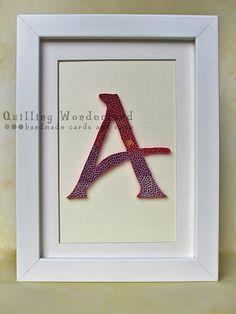 Letter A - paper quilling home decor, purple, violet, pink