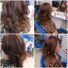 Did momma's hair a few natural looking highlights/ light brown hair color/ beach wavies.
