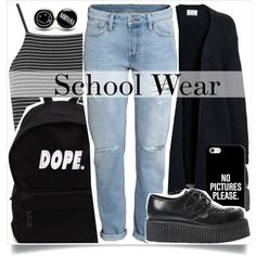 School Fashion by madeinmalaysia on Polyvore featuring moda, Acne Studios, Topshop, H&M, Underground, Casetify, women's clothing, women's fashion, women and female