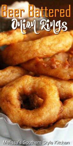 Beer Battered Onion Rings Serve these addictive onion rings as an appetizer, piled high on a burger or as a side dish Homemade Onion Rings, Onion Rings Recipe, Onion Recipes, Sweet Potato Recipes, Lentil Recipes, Broccoli Recipes, Tofu Recipes, Shrimp Recipes, Salmon Recipes