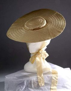 18th century low crown straw hat