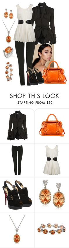 """""""Orange/Black/White"""" by manda3482 ❤ liked on Polyvore featuring WalG, Miu Miu, Wet Seal, Dorothy Perkins, Christian Louboutin, Fantasy Jewelry Box and Simmons"""