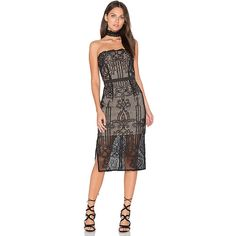 aijek Tatiana Embroidered Bustier Dress ($210) ❤ liked on Polyvore featuring dresses, lace dress, slit dress, embroidery lace dress, lace bustier and bustier dress