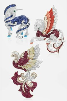 "Van Cleef & Arpels presents its new High Jewellery collection – ""L'Arche de Noé racontée par Van Cleef & Arpels"" – during the month of September with an exhibition open to the public and free at the Hotel d'Evreux. Imaginary creatures Phoenix, Unicorn and Pegasus."