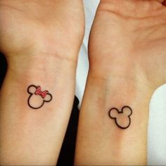 Mickey and minnie outline tattoos for disney lovers Mickey Tattoo, Mickey Mouse Tattoos, Tattoo Disney, Couple Disney, Disney Couple Tattoos, Best Couple Tattoos, Disney Couples, Trendy Tattoos, Popular Tattoos