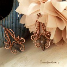 Imbolc * decent earrings  * smoky quartz, copper  * wire wrap * wirewrapping * wire artisan * handmade * wire * work * wirewrapped * wired