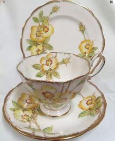 Royal Albert Trio Wild Rose Vintage Collectable Yellow Flowers Foliage  | eBay