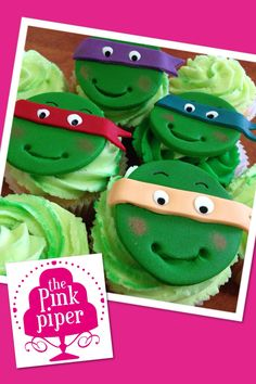 Another Pink Piper special: Vanilla butter cake with buttercream. Teenage Mutant Ninja Turtle cupcakes for Jess's little brother! TMNT - dynamite! TURTLE POWER!
