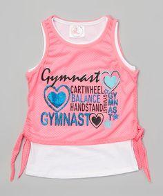 Look what I found on #zulily! Neon Pink Gymnast Mesh Tie Tank & White Tank - Girls #zulilyfinds