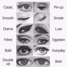 Different eye liner styles. Not sure if I pinned this already