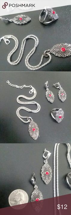 🎉SALE🎉 SILVER PLATED FASHION JEWELRY SET CLOSET CLOSING Vintage silver plated Necklace, earring and ring set, fashion jewellry, two toned with silver and red diamond embellishments  Earring 4.7cm×1.7cm Pendant 4.1cm×1.7cm Ring 3.0cm×1.6cm Chain length 40cm+5cm Crystall jewellery sets Jewelry Necklaces