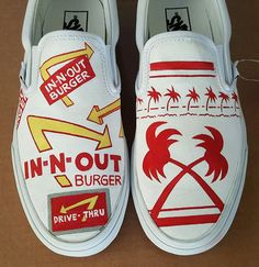 How much do you LOVE In N Out Burger?!! Take your love to the next level with these deliciously fresh custom In N Out Burger shoes, and slip them on for your next animal style date!  Each pair is hand painted with a fine brush for impeccable detail! Please contact me if you would like to order this particular design in a different size. Design your own pair of custom shoes using the pricing guide listed below:  I use generic shoes for all custom orders, unless name brand shoes are requested…