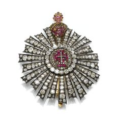 PORTUGAL ORDER OF CHRIST Grand Cross breast star, set throughout with rubies, circular-cut and rose-cut diamonds, height approximately 83 m...