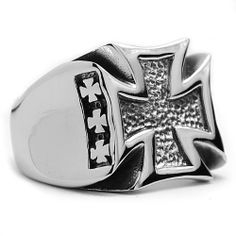 The Ultimate Stainless Steel Casted Cross Biker Ring Sizes 9 to 14 Metal Masters Co.. $15.99. Casted Biker Ring. Comes with a FREE Ring Box!!. 30-Day Money Back Guarantee. Surgical Stainless Steel 316
