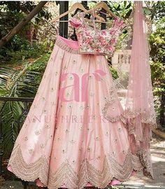 Pink Colour Silk Fabric Party Wear Lehenga Choli Comes With Matching Blouse. This Lehenga Choli Is Crafted With Embroidery. This Lehenga Choli Comes With Unstitched Blouse Which Can Be Stitched Up To . Indian Wedding Lehenga, Indian Lehenga, Bridal Lehenga, Indian Bridal, Blouse Lehenga, Pink Lehenga, Ghagra Choli, Floral Lehenga, Anarkali Lehenga