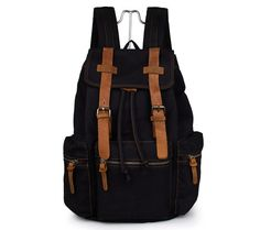 78.44$  Buy now - http://alib4i.worldwells.pw/go.php?t=32438916378 - JMD New Style Canvas With Leather Straps Black Backpacks For Teenage Girls 9003A