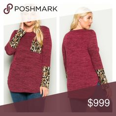 "(Plus) Red animal print top Animal print top. Semi lightweight, yet warm! Feels closer to a sweater. Poly/ rayon/ spandex mix. Runs TTS- go up one size if you'd like a more oversized look.  1x: L 31""  B 42""  2x: L 32"" B 44"" 3x: L 32"" B 46"" ⭐️This item is brand new from manufacturer without tags.  🚫NO TRADES 💲Price is firm unless bundled 💰Ask about bundle discounts Availability: 1x•2x•3x • 2•2•0 Tops Tees - Long Sleeve"