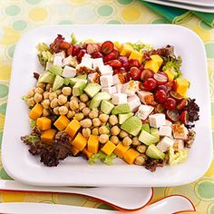 Kiddie Cobb -- Turkey, cheese, avocado, grapes, and chickpeas get their own row on top of lettuce for this colorful main dish salad that's perfect for kids.
