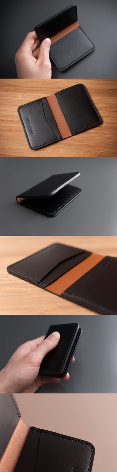 Hand-stitched Leather Bifold Card Holder by WILKAMI