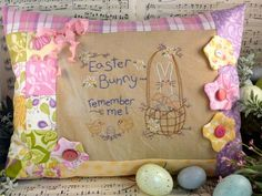 Easter Bunny remember me embroidery PDF Pattern - stitchery egg basket chicks primitive pillow bed flowers by Hudsonsholidays on Etsy https://www.etsy.com/listing/94553664/easter-bunny-remember-me-embroidery-pdf