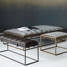 Amazing Storage Ottoman Bench Of Fontanne Leather Ottoman Rectangle West Elm - Living Room Ideas Leather Ottoman Coffee Table, Ottoman Table, Storage Ottoman Bench, Leather Bench, Upholstered Ottoman, Leather Headboard, Tufted Bench, Chair Upholstery, Living Room Furniture