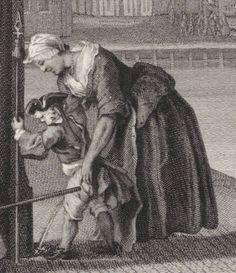 "1708 - 1780. Detail of ""Amsterdamse kermisfeest"" by Jacob Houbraken and Cornelis Troost.  Women -- Clothing & dress -- 1700-1799 -- Netherlands. 18th century Dutch costume."