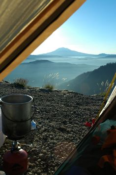 Camp overlooking Ape Canyon. A three-day backpack circuit, covering 32 miles around Mount St. Helens on the Loowit Trail.