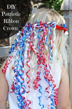 Kids will love to show their patriotic pride with this red, white, and blue ribbon crown!  @ellaandannie show you how to make this DIY ribbon crown for the 4th of July on our blog.