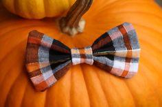 Pumpkin Carving Orange Plaid Hair Bow || Shop Pretty Lovely