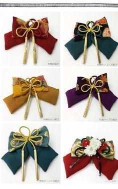 Braid Accessories, Kids Hair Accessories, Handmade Accessories, Bow Tie Hair, Ribbon Hair Bows, Fabric Bows, Fabric Flowers, Japanese Hairstyle, Kanzashi Flowers