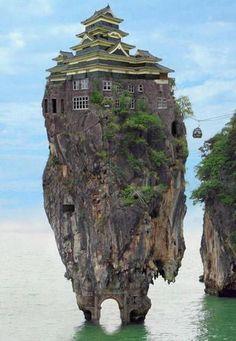Pagode monocale sur un granit de la baie Dalong