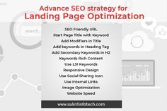 Advance SEO strategy for Landing Page Optimization Sukrit Infotech Landing Page Optimization, Seo Optimization, Onpage Seo, Seo Guide, Seo Keywords, Seo Strategy, Digital Marketing Services, Web Development, Search Engine