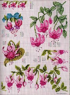 fushia - Good for bead weaving with delica beads Cross Stitch Love, Cross Stitch Flowers, Cross Stitch Charts, Cross Stitch Designs, Cross Stitch Patterns, Cross Stitching, Cross Stitch Embroidery, Embroidery Patterns, Hand Embroidery