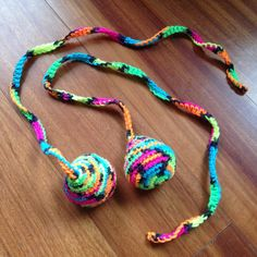 Crocheted Poi Set made with black light activated yarn! Average Size (Ball 3 Tail 19 = 21 Long) Crocheted poi sets are a fabulous way to learn