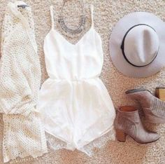 White romper gray hat outfit