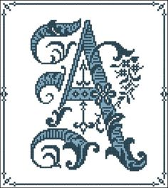 Gothic Alphabet Monograms are beautiful individual letters perfect for single			  framing! Intricate decorative stitchery on the letter of your choice. Adapted from			  Victorian era chart and updated for the modern stitcher.