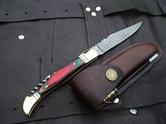 "Amazon.com : DKC-785 RAINBOW Laguiole Damascus Steel Folding Pocket Knife Colored Ebony Wood 3.7 oz 8.5"" long 3.5"" Blade DKC KNIVES : Sports & Outdoors"