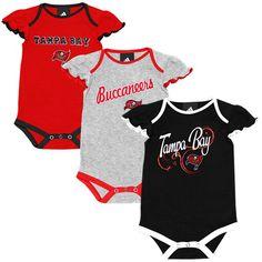 Tampa Bay Buccaneers Historic Logo Newborn Girls Little Lady 3-Pack Creeper Set - Red/Black/Ash - $20.89